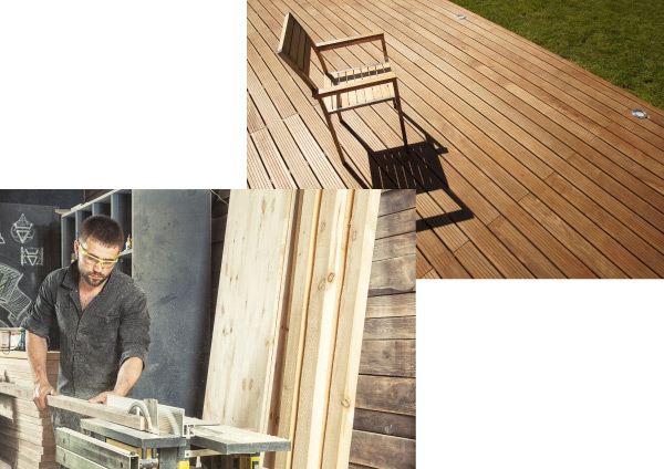 Wooden terrace for mobile home from Clairval, a manufacturer and fitter based in Vendée